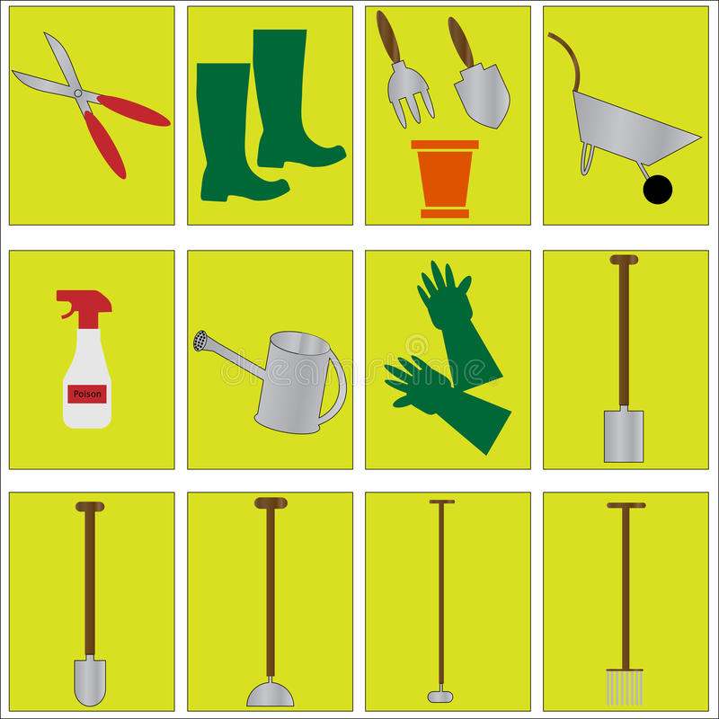 Download Gardening Tools icons stock vector. Illustration of implement - 13233355