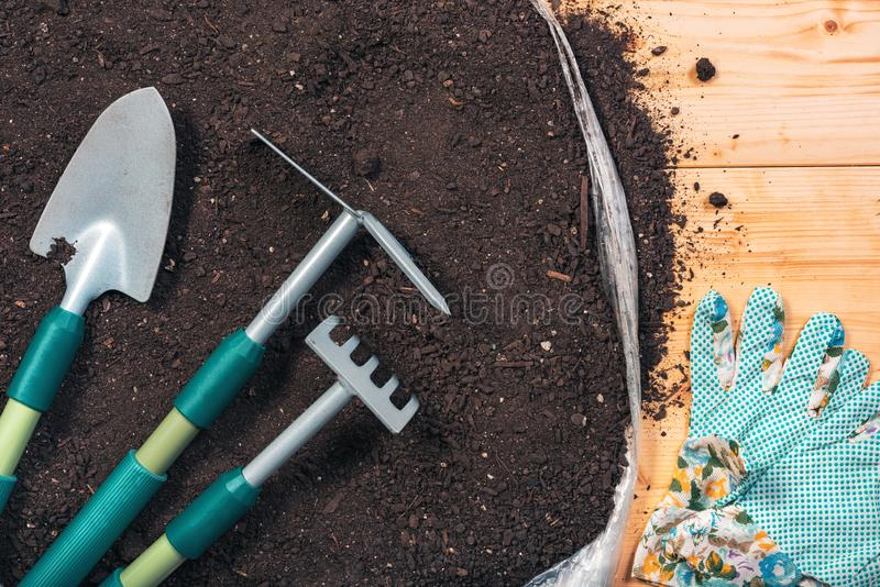Gardening tools on potting soil, top view stock photography