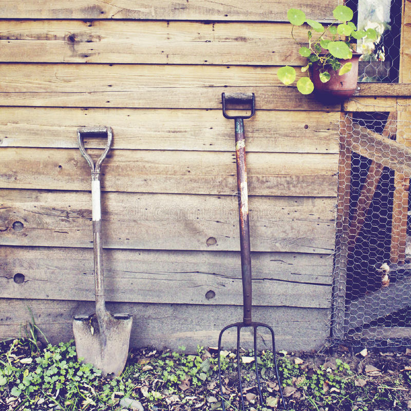 Gardening tools with retro effect royalty free stock photography