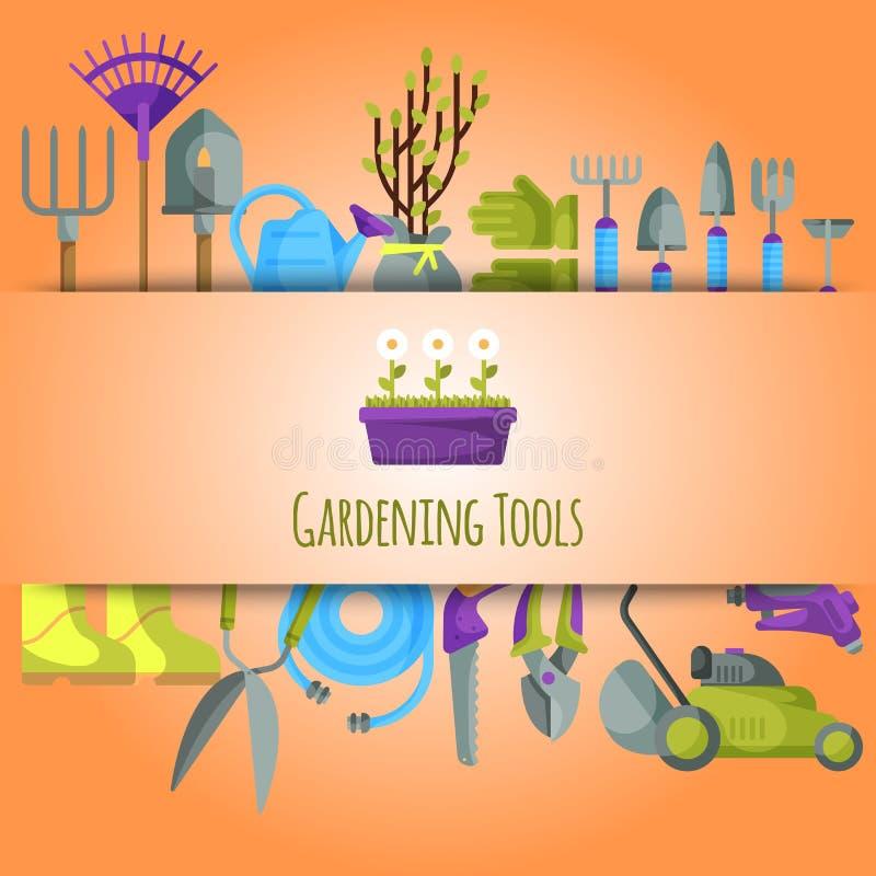 Gardening tools seamless pattern vector illustration. Equipment for gardening. Wheelbarrow, trowel, fork hoe, boots. Gloves, shovels and spades, lawn mower stock illustration
