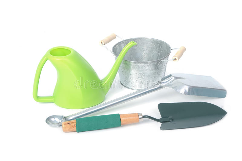 Gardening tools,Shovel,Watering and Galvanized flower bucket stock photography