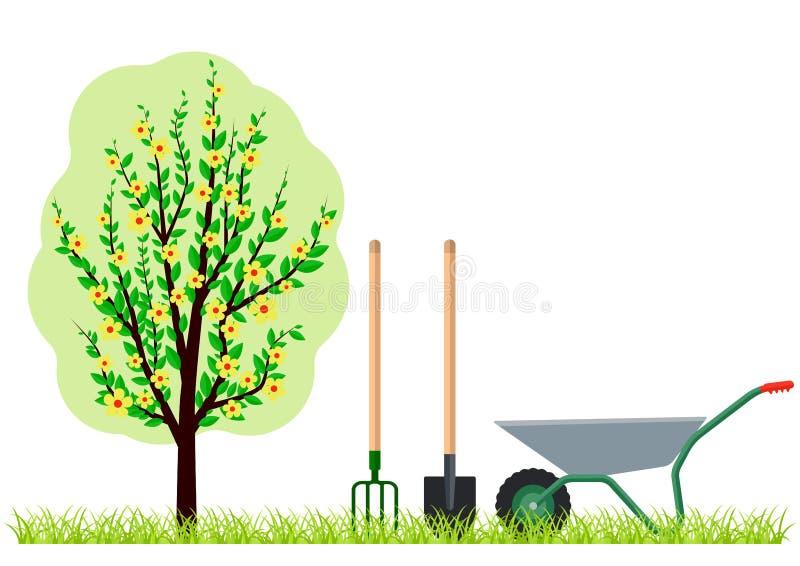 Gardening tree wheelbarrow spade and pitchfork stock illustration