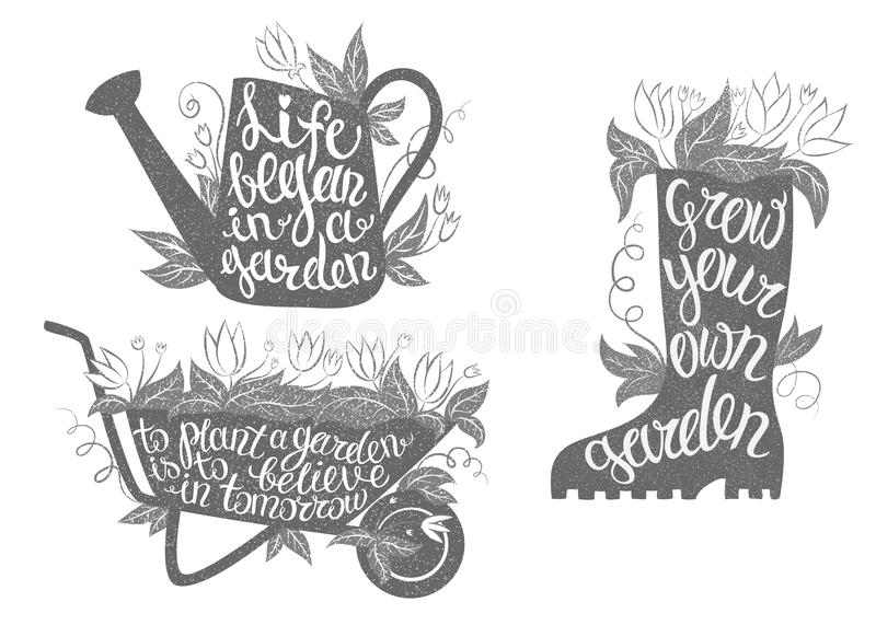 Gardening typography posters set with inspirational quotes. stock illustration