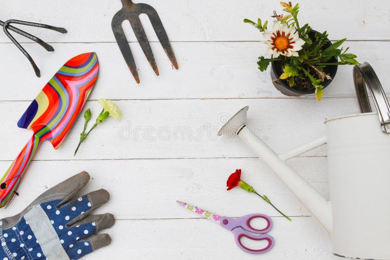 Gardening tools and utensils stock image