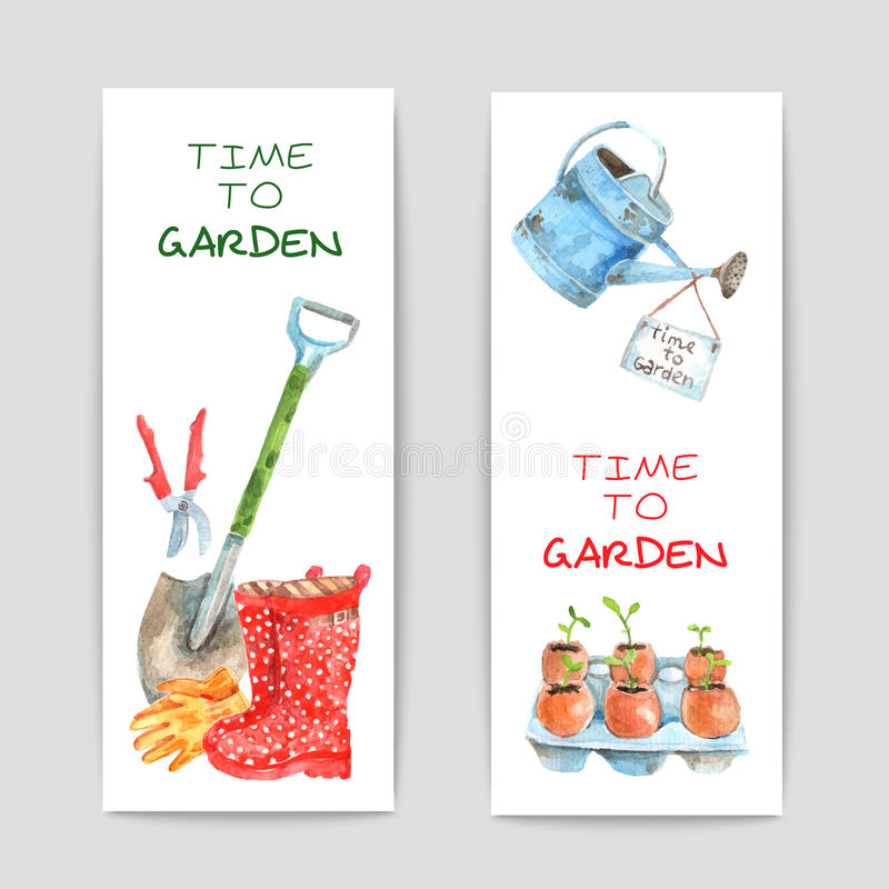 Gardening Watercolor Banners Set vector illustration