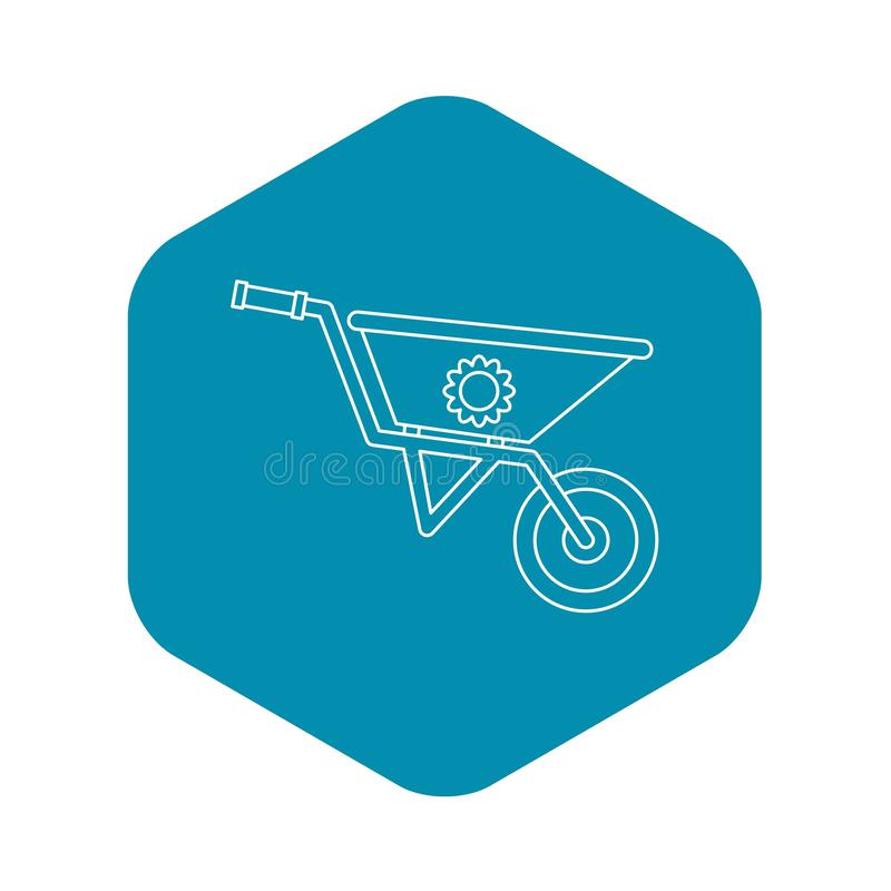 Gardening wheelbarrow icon, outline style stock illustration