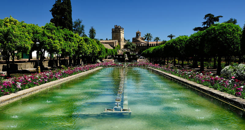 Gardens of Alcazar of the Christian Monarchs, Cordoba, Spain royalty free stock image