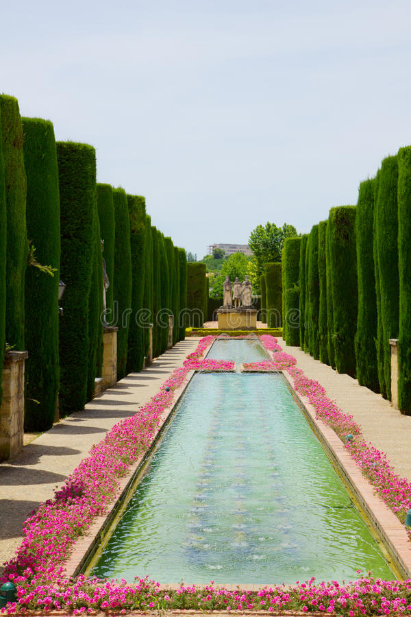 Gardens at the Alcazar of Cordoba, Spain stock image