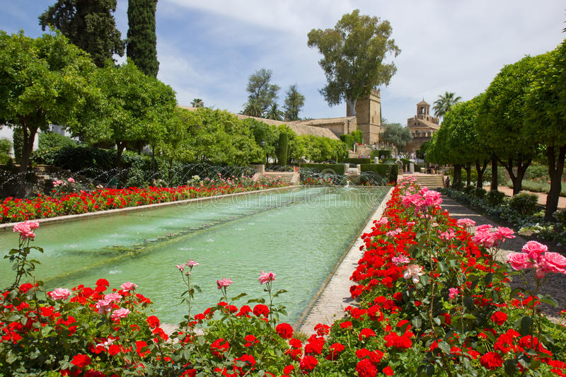 Gardens at the Alcazar, Cordoba, Spain royalty free stock image