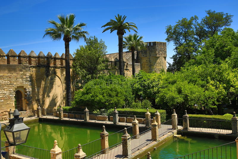 Gardens of Alcazar de los Reyes Cristianos, Cordoba, Spain. The place is declared UNESCO World Heritage Site. CORDOBA, SPAIN. A Picture of the Gardens of Alcazar royalty free stock image
