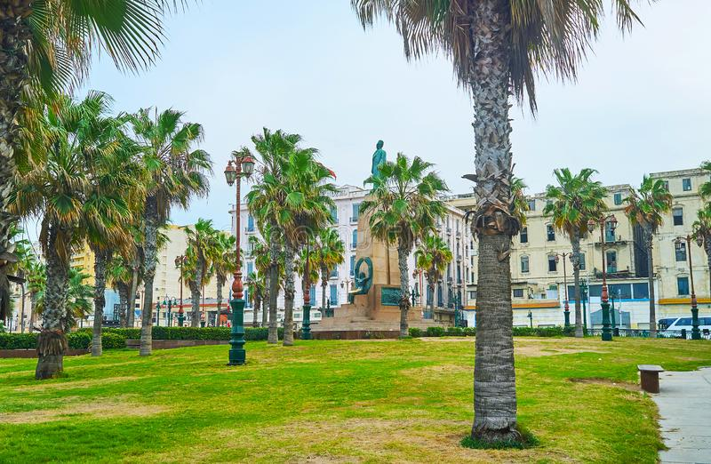 Gardens of Alexandria, Egypt. The beautiful green garden of Saad Zaghloul Square is nice place for the daily walk, family picnic or relax on the bench stock photos