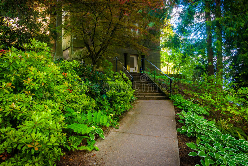 Gardens along a walkway outside the Pittock Mansion, in Portland royalty free stock photography