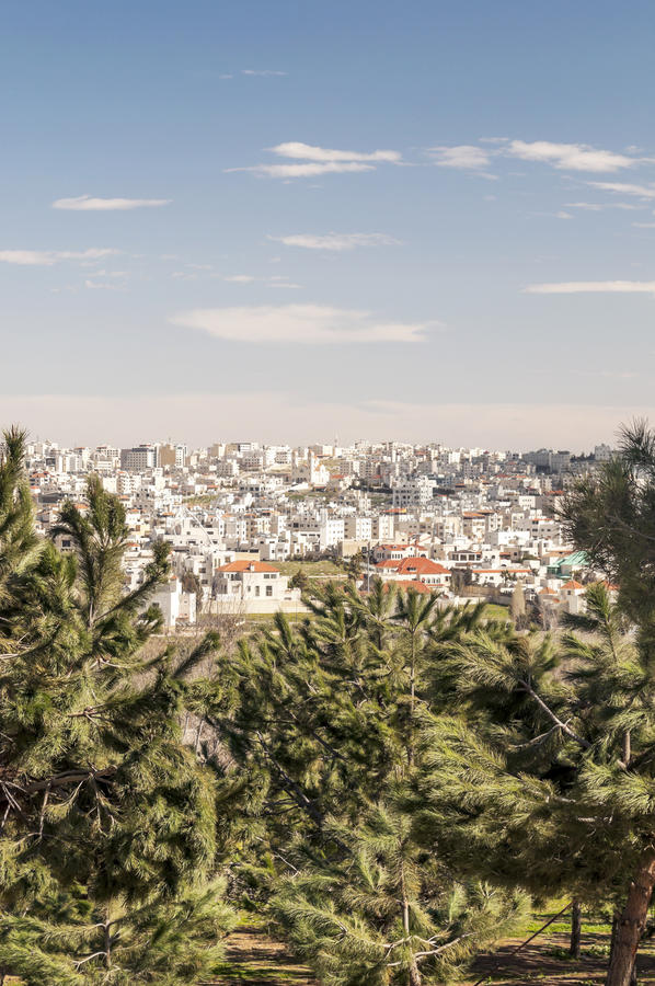 Gardens Amman in Jordan. With houses in the background, is a vertical image in sunny day stock images