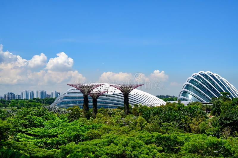Gardens by the Bay, Bay Area, Singapore, Asia. Park with Domes and Supertrees. royalty free stock photos
