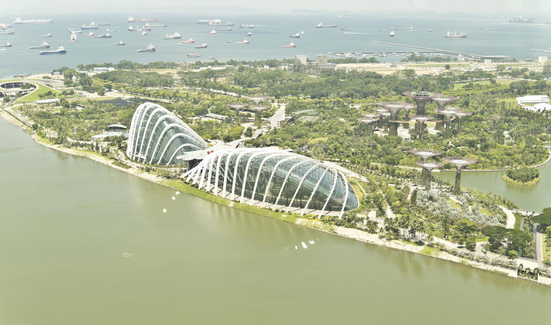 Gardens by the Bay Bird's Eye View stock images