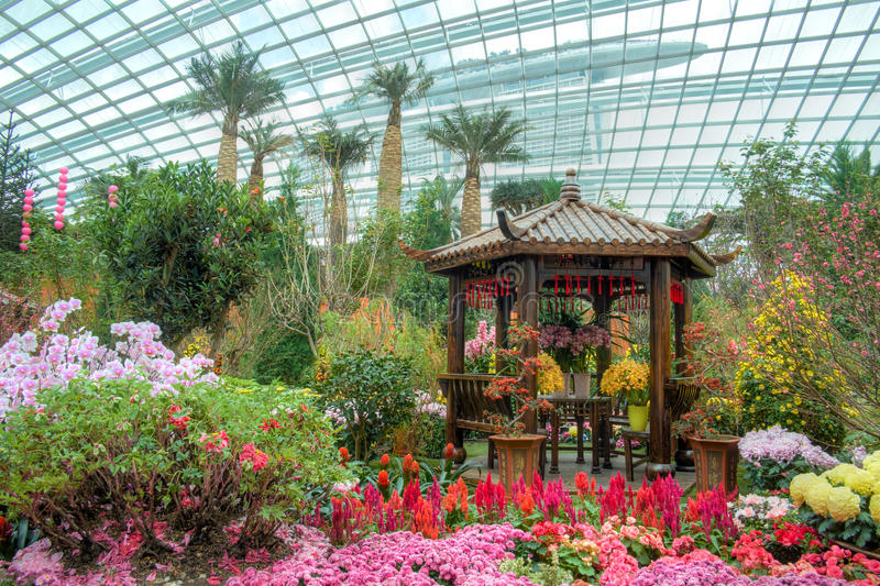 Gardens by the Bay, Flower Dome: Chinese New Year. Display royalty free stock image