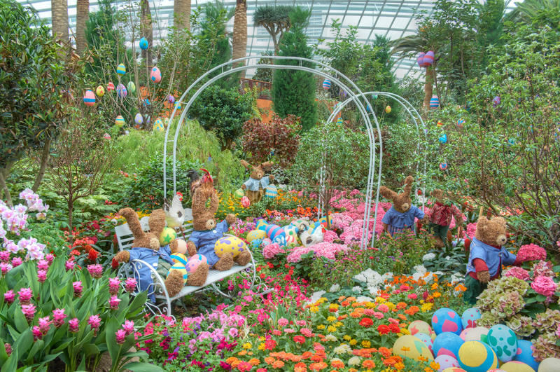 Gardens by the Bay, Flower Dome: Easter & Spring. Gardens by the Bay, Flower Dome: Easter and Spring display stock photos