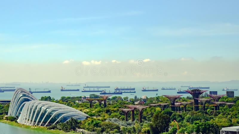 Gardens by the Bay, Bay Area, Singapore, Asia. Aerial view of Park with Domes and Supertrees. stock images