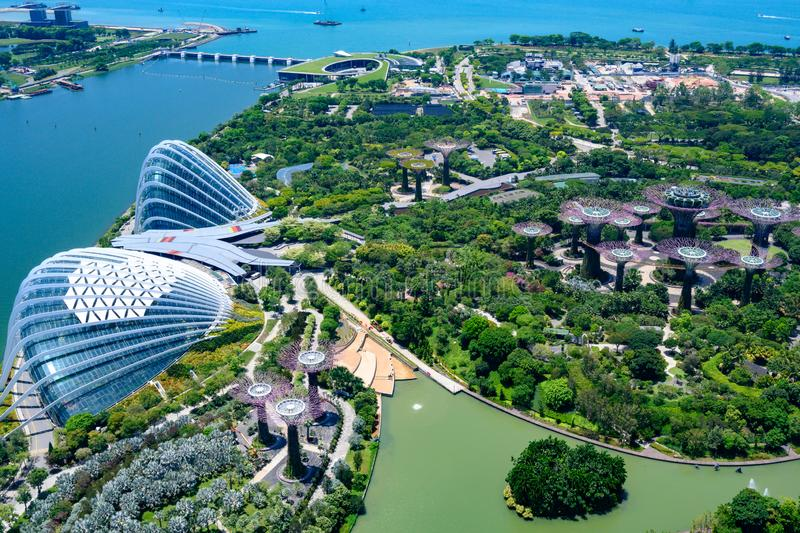 Gardens by the Bay, Singapore, Asia. Aerial view of Flower Dome, Cloud Forest and Park with Supertrees. royalty free stock photo