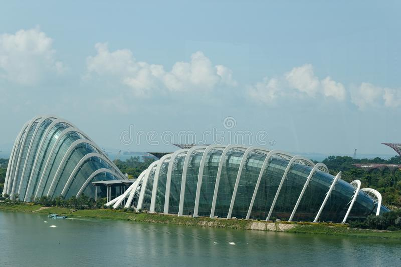 Aerial view of Gardens by the Bay royalty free stock image