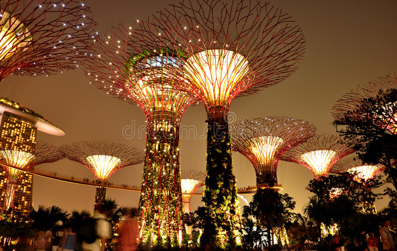 Gardens by the bay in Singapore. Wonderful scene, Gardens by the bay in Singapore stock image