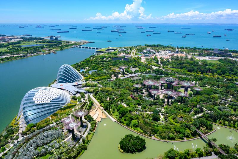 Gardens by the Bay, Singapore, Asia. Aerial view of Flower Dome, Cloud Forest and Park with Supertrees. royalty free stock image