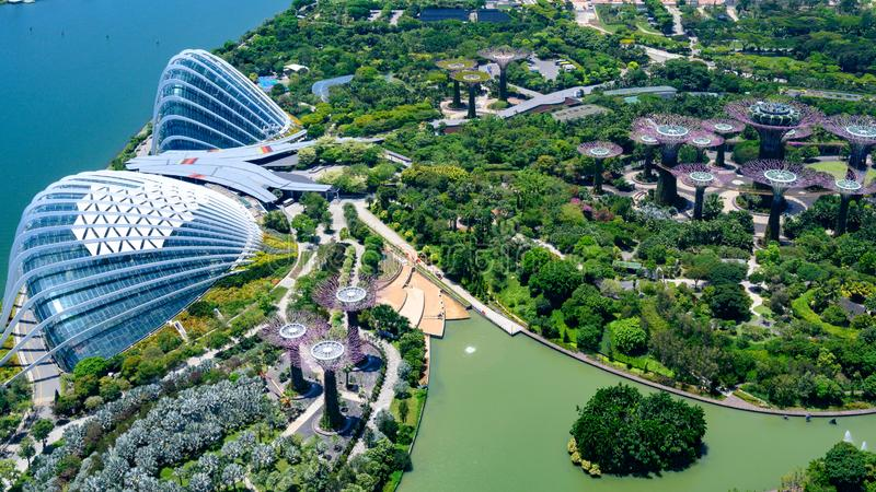 Gardens by the Bay, Singapore, Asia. Aerial view of Flower Dome, Cloud Forest and Park with Supertrees. Gardens by the Bay is a nature park spanning 101 royalty free stock images