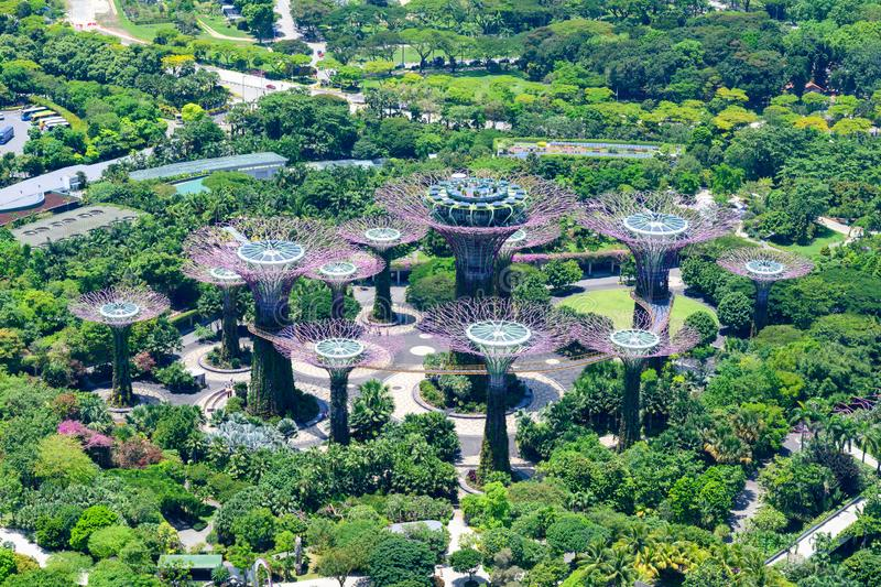 Gardens by the Bay, Singapore, Asia. Aerial view of Park with Supertrees. royalty free stock photo