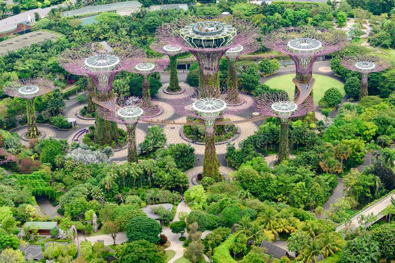 Gardens by the Bay, Singapore, Asia. Aerial view of Park with Supertrees. royalty free stock image