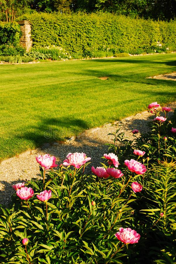 Formal gardens. The gardens of Bellefield, part of the historic estate of Franklin D Roosevelt in Hyde Park, New York stock photography