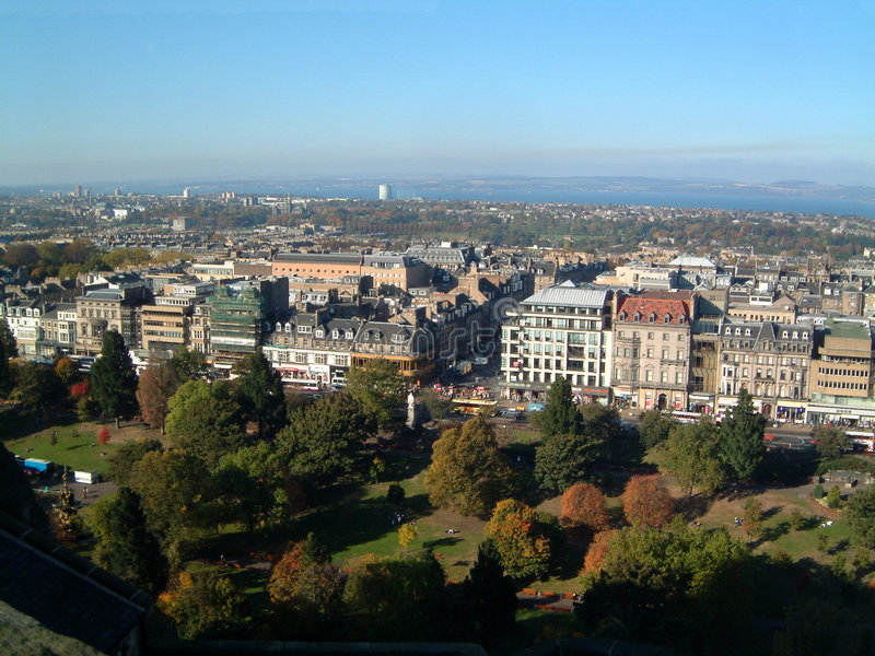 Gardens from Castle. View over Princes street and gardens from Edinburgh Castle royalty free stock images