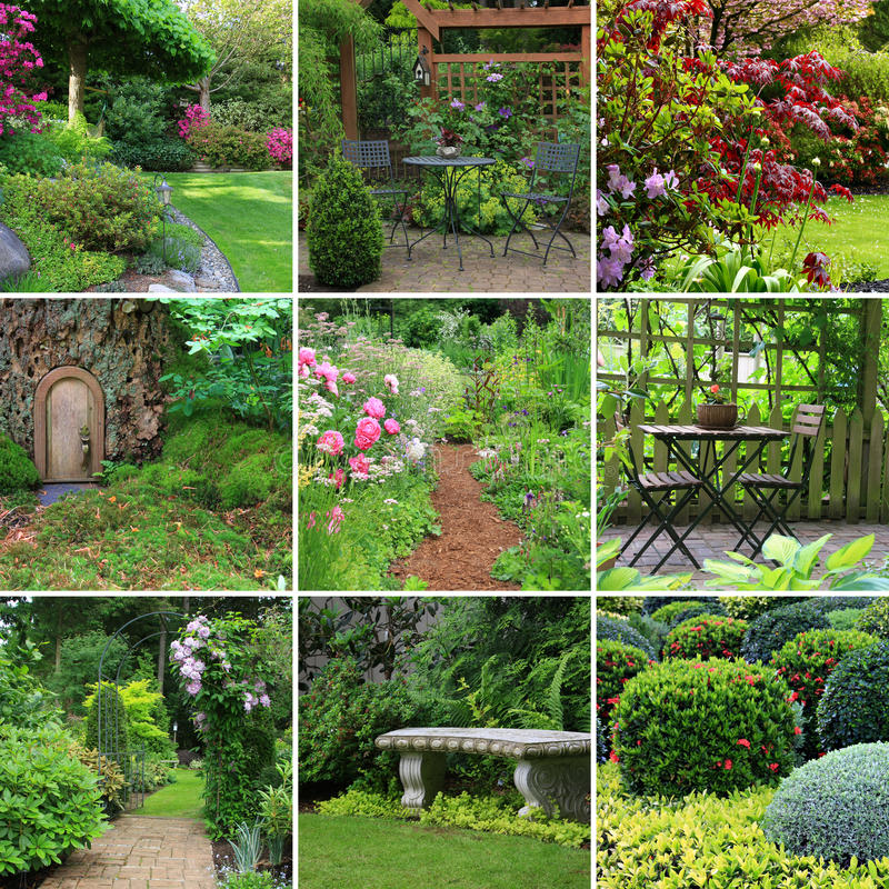 Gardens collage royalty free stock photo