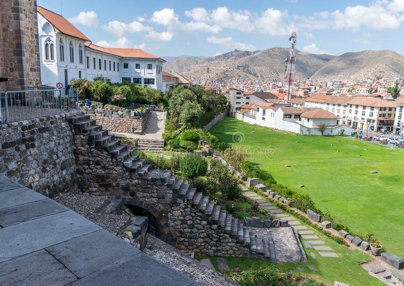 The gardens and colonial staircase at Qoricancha and Santo Domingo in Cusco, Peru. royalty free stock photography