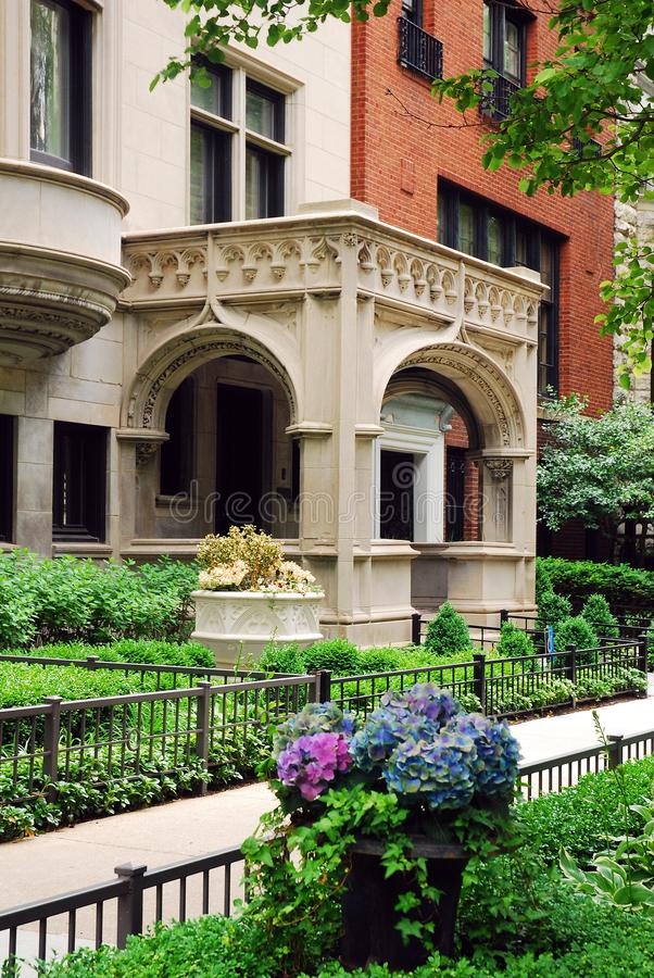 Lincoln Park, Chicago. The gardens and the detailed architecture are treats of the Lincoln Park neighborhood of Chicago royalty free stock images