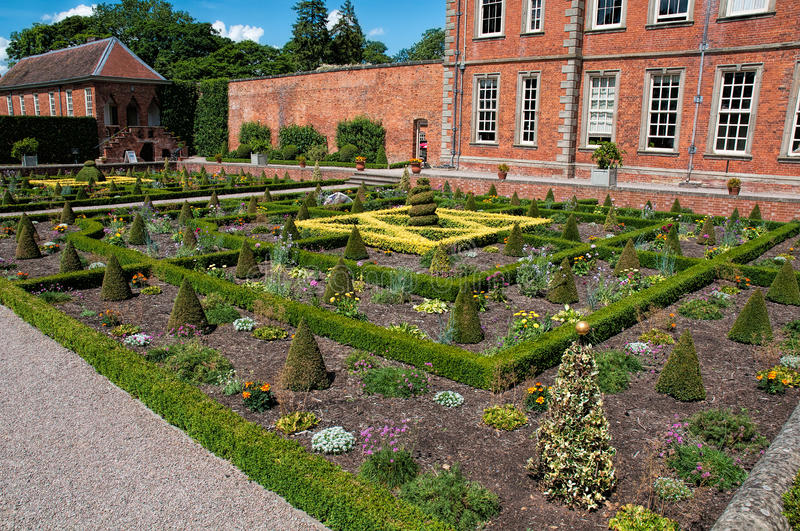 Gardens at Hanbury Hall. The formal gardens at Hanbury Hall, Worcestershire, England, UK stock photo