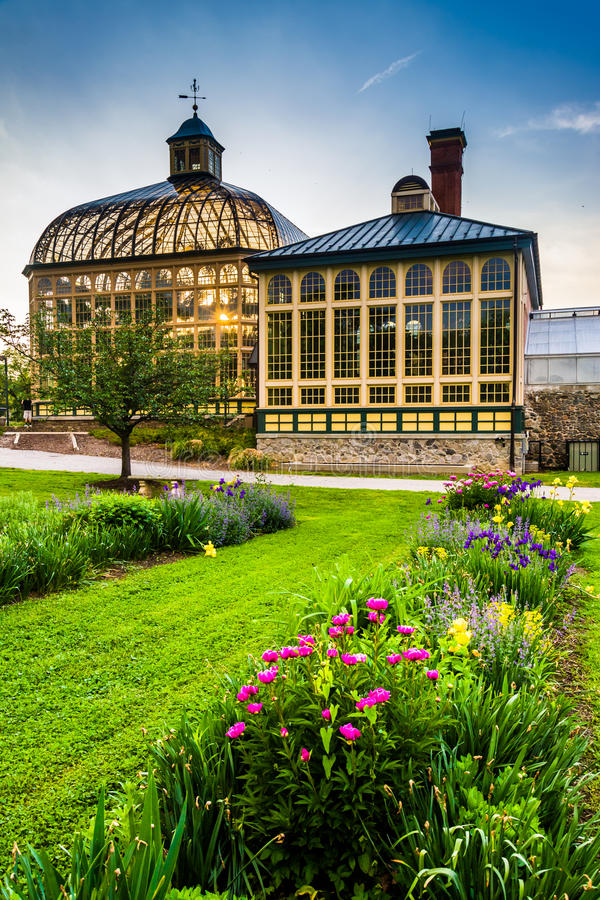 Gardens and the Howard Peters Rawlings Conservatory at sunset in stock photo