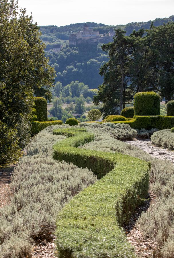 The gardens of the Jardins de Marqueyssac in the Dordogne region of France. The gardens of the Jardins de Marqueyssac in the Dordogne region of France royalty free stock image