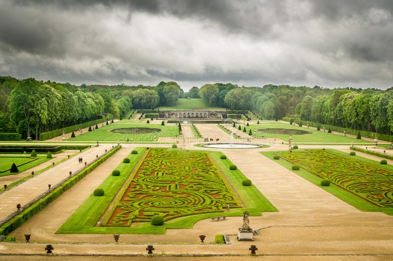 Gardens a la francaise. French style gardens in Vaux-le-vicomte castle in France royalty free stock photography