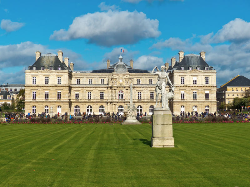 Gardens of Luxembourg Park in Paris France stock images