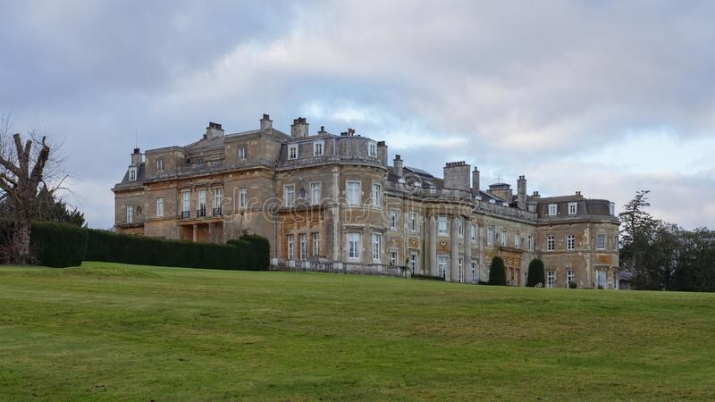 Gardens and mansion Luton Hoo Hotel, Golf and Spa, Luton, Bedfordshire, UK. Luton Hoo Hotel, Golf and Spa, Luton, Bedfordshire, UK - December 23, 2019 royalty free stock image