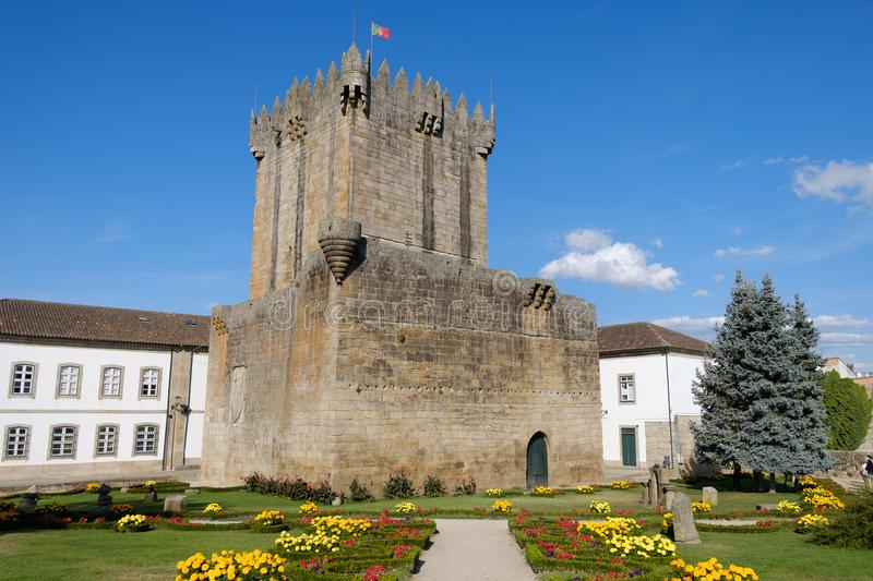 Castle of Chaves, NorthernPortugal. Gardens of the Medieval castle in Chaves city , Tras-os-montes royalty free stock photo