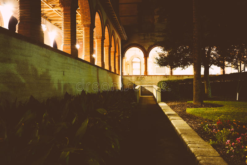 Gardens outside Ponce de Leon Hall at night, in St. Augustine, F. Lorida stock image