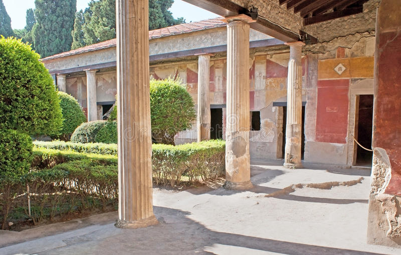 The gardens of Pompeii. The antique villas had the inner gardens, surrounded by shady painted galleries with columns, Pompeii, Italy stock image
