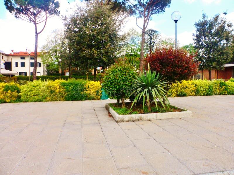 Gardens at San Niccolo ad Agliana, Tuscany, Italy. Gardens in front of Church of san Niccolo ad Agliana in Tuscany, Italy on sunny day royalty free stock image