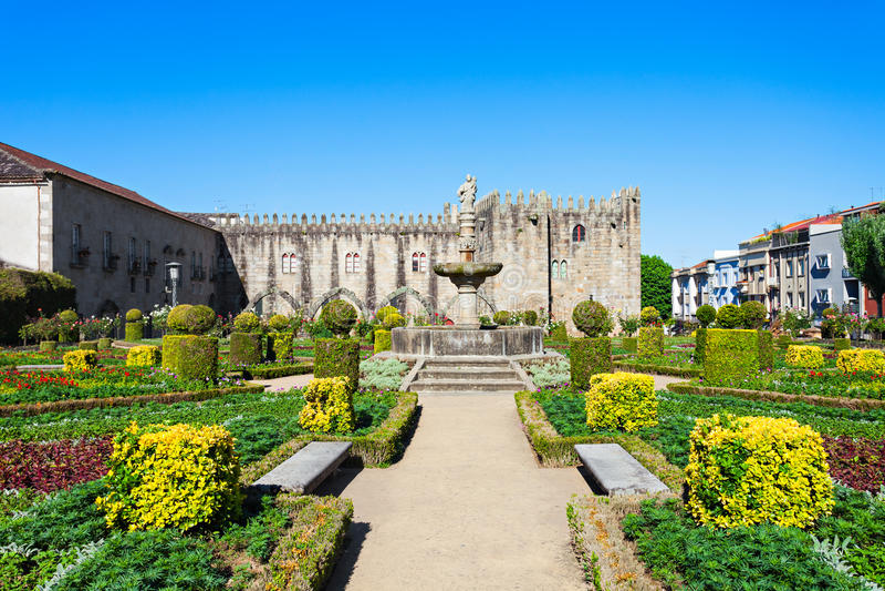 Gardens of Santa Barbara. With castle of Braga, Portugal stock photos
