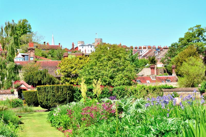 Gardens in the town of Lewes stock images