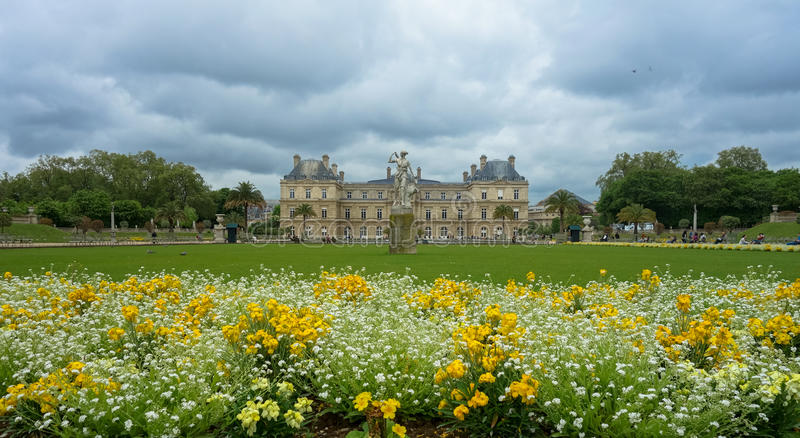 Gardens and Versailles Castle in Paris, France royalty free stock photo