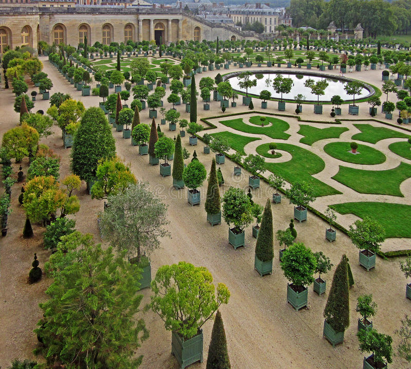 The Gardens of Versailles 3. The Gardens of Versailles occupy part of what was once the Domaine royal de Versailles, the royal demesne of the château of stock images