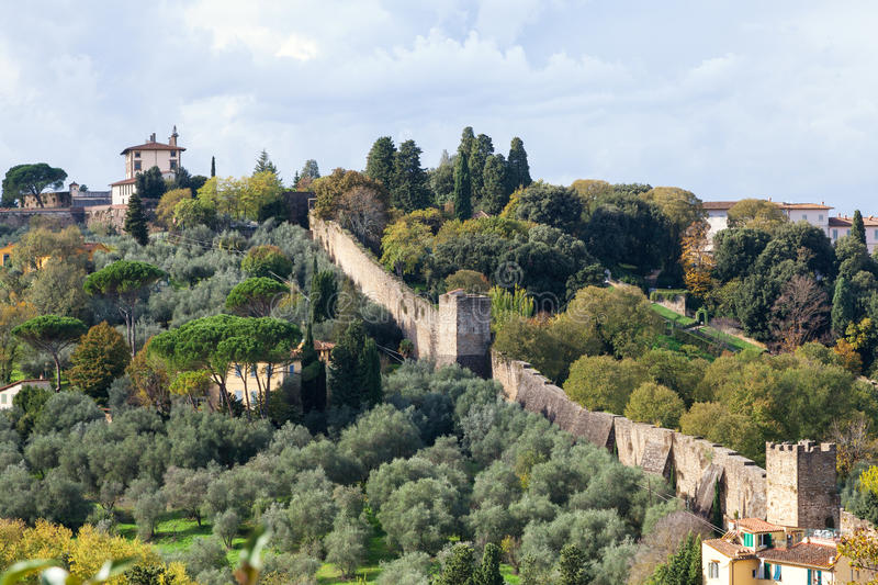Gardens and wall of Giardino Bardini in autumn stock photography