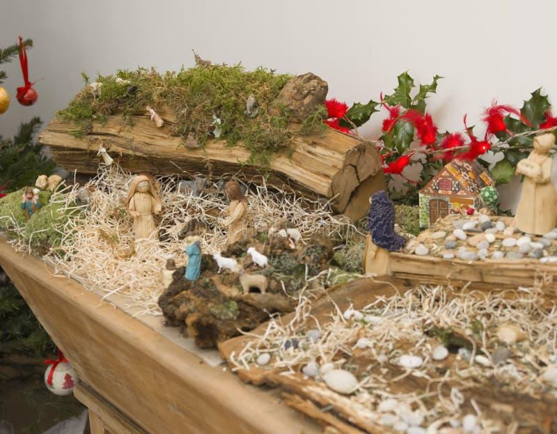 Garderie de Noël avec Joseph Mary et petit Jésus images libres de droits